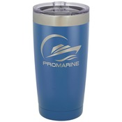 20 oz Blue Stainless Steel Tumbler - Engraves to Silver Only