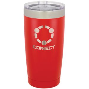 20 oz Red Stainless Steel Tumbler - Engraves to Silver Only Thumbnail